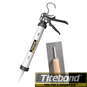 TITEBOND TROWELS AND SAUSAGE GUN